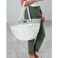 CREAM SPOT STRIPE Summer Printed Beach Bag  Size One Size