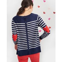 Navy Stripe Rosita Raglan Elbow Patch Jumper  Size 8
