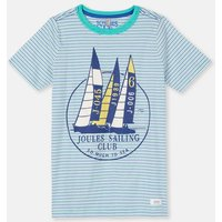 Aqua Stripe Sailing 204639 Screenprint Tee  Size 7Yr-8Yr