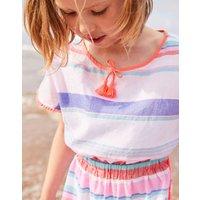 Pink Multi Stripe Mari Woven Beach Kaftan 1-12 Yr  Size 4Yr