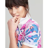 Cream Floral Pippa Printed Polo Shirt  Size 8