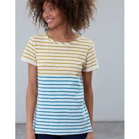 Gold Cream Blue Stripe Nessa Lightweight Jersey T-Shirt  Size 12