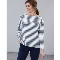 Cream Navy Stripe Matilde Square Neck Jersey Top  Size 16