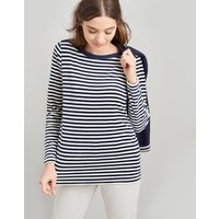NAVY STRIPE Esme Velour Slash Neck Jersey Top  Size 12