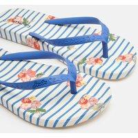 Blue Floral Stripe Flip Flops  Size Adult 6