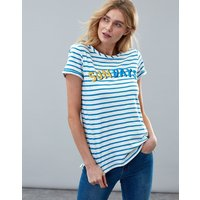 Cream Blue Stripe Nessa Print Lightweight Jersey T-Shirt  Size 6