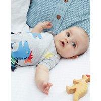 Grey Dino Star Stripe Patch Jersey Applique Babygrow  Size 6M-9M