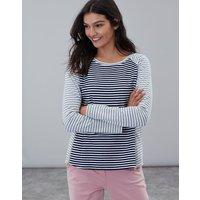 Navy Stripe Adaline Jersey Top With Zip Detail  Size 8