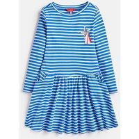 Blue Cream Stripe Lila Drop Waist Dress  Size 3Yr