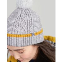 LIGHT GREY MARL Anya Bobble Hat  Size One Size