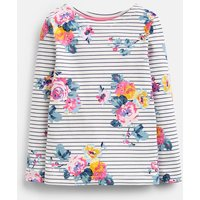 Navy Stripe Floral Harbour Print Jersey Top 3-12 Years  Size 9Yr-10Yr