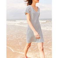 Cream Navy Stripe Riviera V Neck Jersey Dress  Size 14