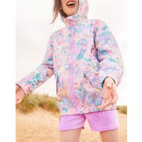 Blue Mermaid Ditsy Golightly Short Packable Rain Jacket 3-12 Yr  Size 9Yr-10Yr