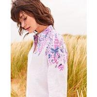 White Floral Border Jeanne Printed Long Line Linen Shirt  Size 10
