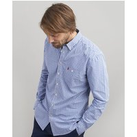 BLUE WHITE GINGHAM Hewney Classic Fit Peached Poplin Shirt  Size M