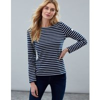 Navy Cream Stripe Harbour Long Sleeve Jersey Top  Size 14