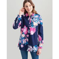 Navy Floral Sheringham Pop Over Shirt  Size 8