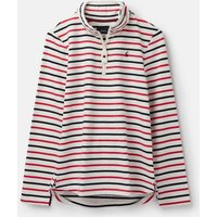 Cream Raspberry Stripe 207525 Half Zip Long Sleeve Sweatshirt  Size 10