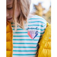WHITE TURQUOISE STRIPE Harbour Jersey Top 3-12yr  Size 7yr-8yr