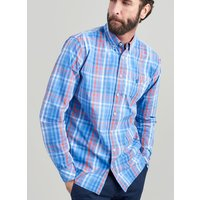 Blue Check Hewney Classic Fit Peached Poplin Shirt  Size Xxxxl