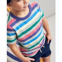 Grey Marl Multi Stripe Caspian Stripe T-Shirt 3-12 Yr  Size 5Yr