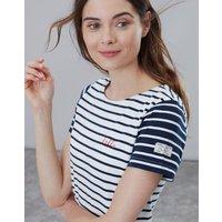 Hello Embroidery Stripe Riviera Jersey Dress  Size 8