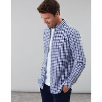 White Navy Check Abbott Long Sleeve Classic Fit Peached Poplin Shirt  Size M