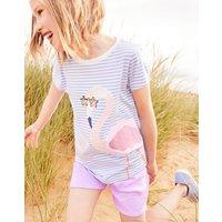 Blue Stripe Flamingo Astra Jersey Applique Top 3-12 Yr  Size 6Yr