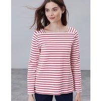 Cream Red Stripe Matilde Square Neck Jersey Top  Size 14