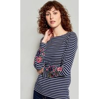 French Navy Embroidered Stripe Harbour Embroidered Jersey Top  Size 12