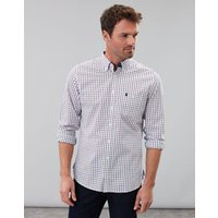 White Spaced Check Abbott Light Long Sleeve Slim Fit Peached Poplin Shirt  Size S