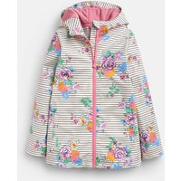 Cream Navy Floral Raindance Showerproof Rubber Coat 1-12 Years  Size 11Yr-12Yr