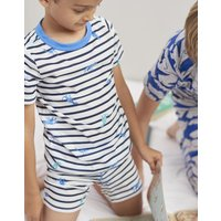 Navy Skeleton Dino Stripes Arnie Short Pyjama Set 1-12 Yr  Size 7Yr-8Yr