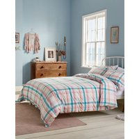 Green Peach Check Cottage Garden Check Duvet Cover  Size Double