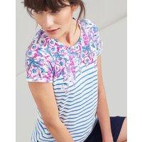 BLUE STRIPE FLORAL BORDER Nessa print Lightweight Jersey T-Shirt  Size 14