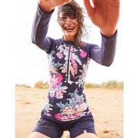 Navy Floral Adrianna Zip Rash Vest  Size 10