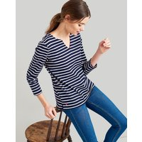 Navy Cream Stripe Harbour Notch Neck Jersey Top  Size 8