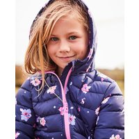 Navy Petal Floral Kinnaird Printed Quilted Packable Coat 1-12Yr  Size 1Yr