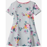 Navy Stripe Floral Erin Short Sleeve Skater Dress 3-12 Years  Size 5Yr