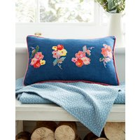 Blue Floral Hollyhock Floral Cushion  Size One Size