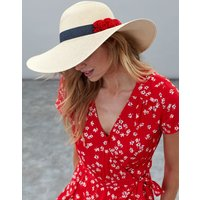 Red Shade Pom Sun Hat With Poms  Size One Size