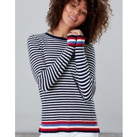 Navy Cream Stripe Esha Crew Block Jumper  Size 20