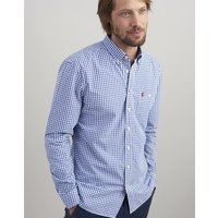 BLUE WHITE GINGHAM Hewney slim fit Long Sleeve Peached Poplin shirt  Size XXL