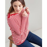 RED STRIPE Esme Velour Slash Neck Jersey Top  Size 18