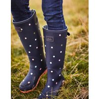 Navy Ping Pong Spot Printed Wellies With Adjustable Back Gusset  Size Adult 5