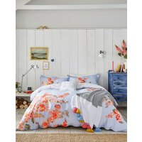 BLUE FLORAL Hollyhock floral Duvet Cover  Size Double