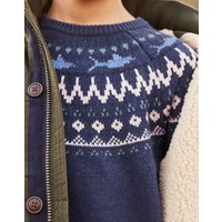 Navy Knit Frederik Nordic Fairisle Jumper 1-12 Years  Size 3Yr