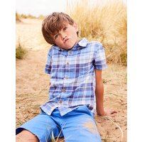 Blue Multi Check Sark Short Sleeve Check Shirt 1-12 Yr  Size 7Yr-8Yr