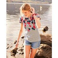 Lilypad Border Stripe Nessa Print Lightweight Jersey T-Shirt  Size 10
