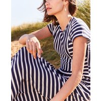 Cream Navy Stripe Trudy Short Sleeve Maxi Dress  Size 16